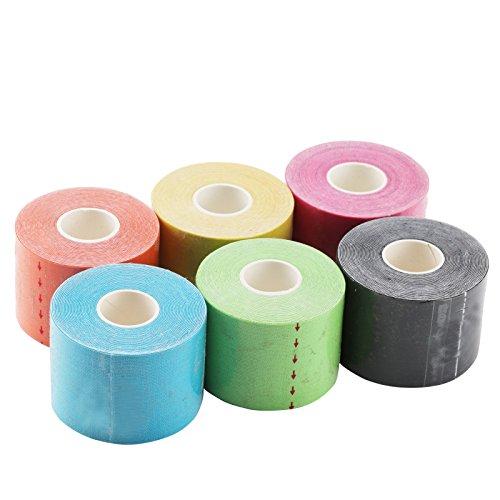 JUEYAN 6 Rollen Kinesiologie Tape 5 X 500 CM Sporttape Wasserdicht Elastisches Kinesiology Sport Tape Tapeverband aus Baumwolle - 6