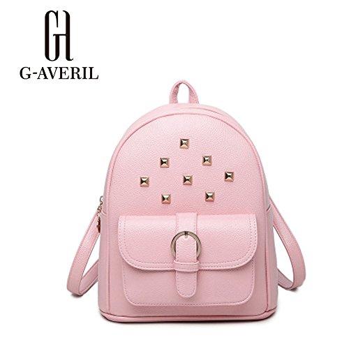(G-AVERIL) 2018 Sacchetto di scuola dello zaino sveglio di modo sveglio per le ragazze adolescenti rosa