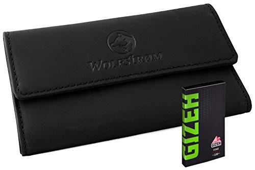 Tabaktasche Leder Schwarz Wolfstrøm Set inkl. Gizeh Papers (Made in EU) – Tabak-Beutel Drehertasche Magnetverschluss, Filterfach, Blättchenhalter
