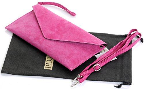 Italienische Wildleder Leder Hülle Design Clutch, Handgelenk, Schulter oder Crossbody-Bag.Umfasst eine Marke schützenden Aufbewahrungstasche Fuschia Pink