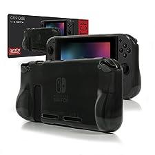 Funda Orzly Comfort Grip Case para la Nintendo Switch – Carcasa protectora con puños de mano rellenos integrados para la parte posterior de la consola Nintendo Switch en su Modo GamePad - SMOKEY SLATE