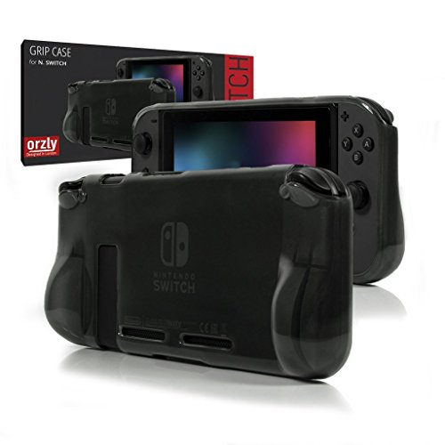 ORZLY® Comfort Grip Case for Nintendo Switch - Protective Back Cover for use on The Nintendo Switch Console in Handheld Gamepad Mode with Built in Comfort Padded Hand Grips - Smokey Slate -