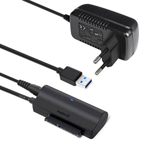 Inateck Adaptateur USB 3.0 vers SATA III pour Disque Dur SSD et HDD de 2,5/3,5 pouces, Convertisseur SATA vers USB, UASP Compatible et Adaptateur d'Alimentation externe 12V/2A Inclus (UA1005)