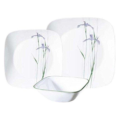 Corelle Geschirr-Set Shadow Iris Square aus Vitrelle-Glas für 6 Personen 18-teilig, Splitter- und bruchfest, violett/grün - Iris Glas
