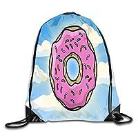 Drawstring Gym Bag, Sport Backpack, Travel Rucksack, Drawstring Bag Cartoon Donut Summer Rucksack for Gym Hiking Travel Color 03 Lightweight Unique