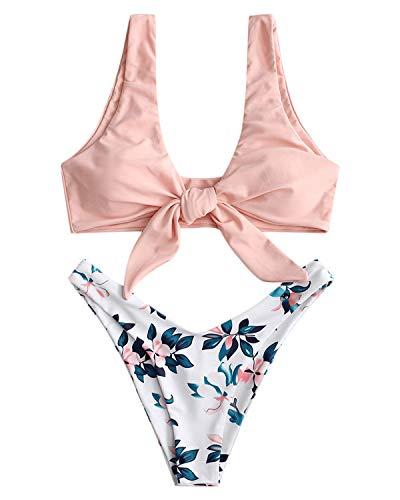 ZAFUL Bikini Set mit Blumen Pattern Zweiteiliger Badeanzug mit Knoten Design Bademode Strandmode Swimsuit Beachwear RosaMedium