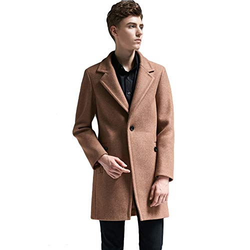 MERRYHE Mens Blend Great Coat Revers Anzüge Trenchcoat Klassische Formale Jacken Slim Fit Mantel Greatcoat Fashion Oberbekleidung,Camel-3XL(Bust/120cm)