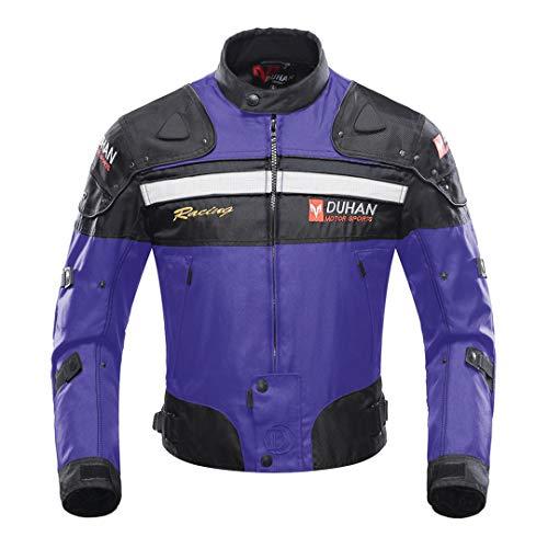 TEONGS Chaqueta de Montar en Moto Motocicleta a Prueba de Viento Armadura Protectora de Cuerpo Completo Ropa de otono Invierno Moto Ropa Blue Jacket L