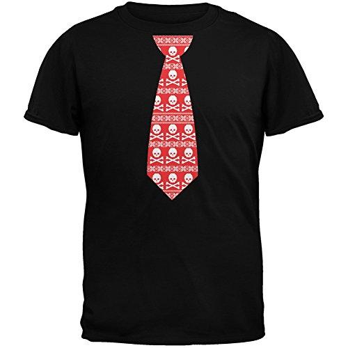 Schädel und gekreuzten Knochen rote Krawatte hässlich Weihnachten Pullover schwarz Erwachsenen T-Shirt Black