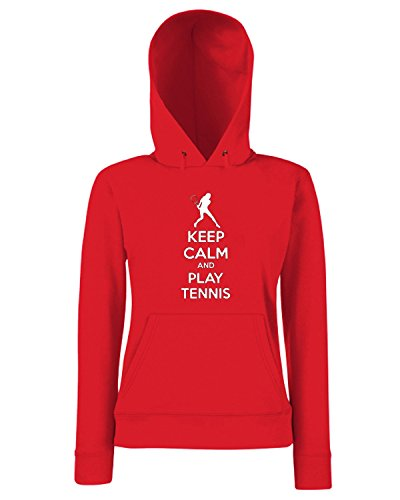 T-Shirtshock - Sweats a capuche Femme OLDENG00763 keep calm and play tennis (3) Rouge
