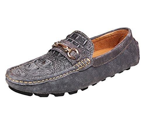 SK Studio Herren Wildleder Mokassin Alligator Gestalt Freizeit Niedrig Slipper Fahren Schuhe Loafers Halbschuhe Grau