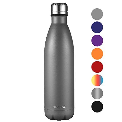 Ecooe Thermosflasche 500ml-750ml Doppelwandig Trinkflasche Edelstahl Wasserflasche Vakuum Isolierflasche (750ml, Grau)