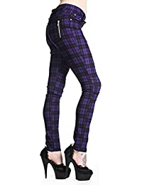 La ropa en Punk prohibido/fangbanger de pelo fino de diseño de tela vaquera de cuadros escoceses morado con cremallera en los costados todos los tamaños