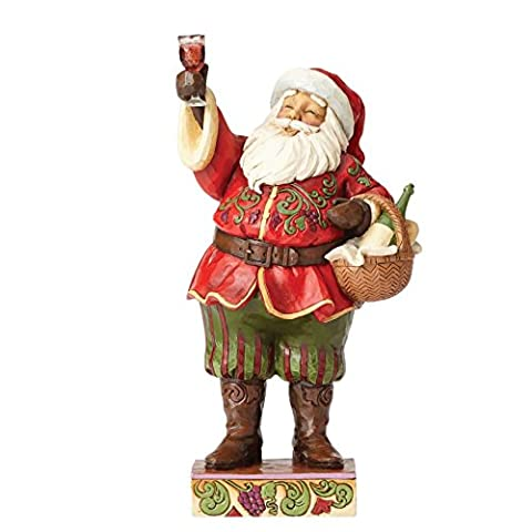 Heartwood Creek Toasting Traditions-Santa with Wine Figurine, RESIN, Multicolour, 1 x 14 x 26.5 cm
