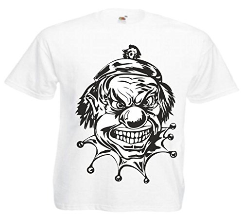 Motiv Fun T-Shirt Clowns Jokers Harley Biker Chopper Skull Motiv Nr. 1647 Weiß