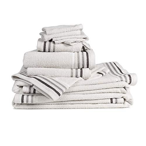 Set 10 pezzi spugna bassetti: 4 lavette 30x30, 2 asciugamani ospite 30x50, 2 asciugamani 50x100, 2 teli bagno 70x140 (grigio)