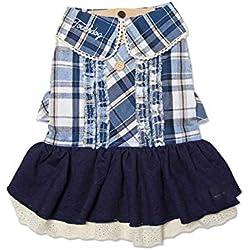 JIAQING Ropa para Mascotas Camisa A Cuadros Falda Vestido De Invierno Perro Pequeño Peluche Ropa para Perros Azul,Blue(XL)