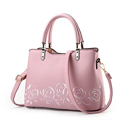 Mode Damen Einfaches Große Taschen Personalisierte Rosen Stickerei Schulter Kurierbeutel Wild Handtaschen Buntes Quadratisches Paket Pink