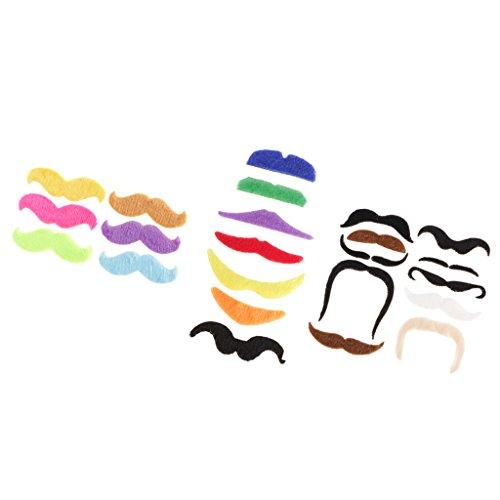 MagiDeal 23 Stück Plüsch Selbstklebend Bärte / Schnurrbärte / Schnurrbart Spielzeug für Kostüme Karneval Halloween Cosplay Kostüm Party Make up