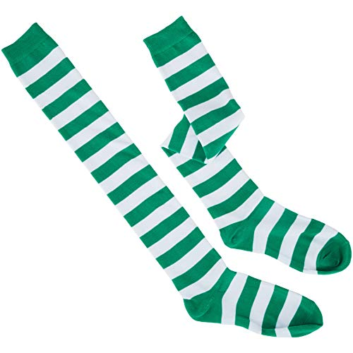 Frau Kostüm Wetter - dressforfun 302564 - St. Patrick's Day Kniestrümpfe mit Streifen, grün und weiß gestreift