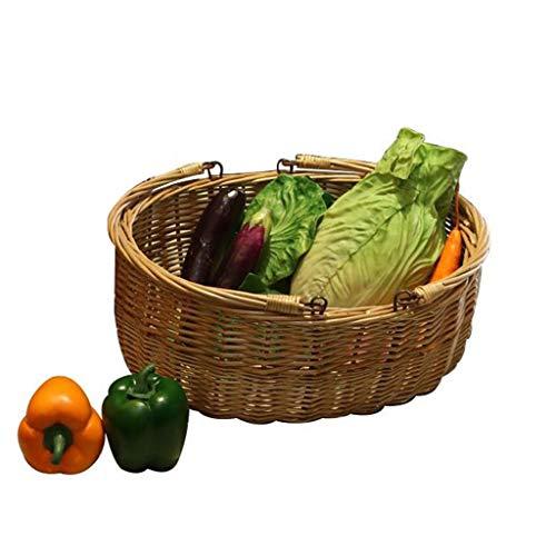 XIANGYU Picknick Willow Basket, Obstkorb Geschenk, Wicker Brotkorb Aufbewahrungskorb Display Tray Wicker Lebensmittel Geschenk Korb Gemüsekorb (Farbe : B) Display-trays