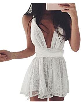SKY Celebrate for the Summer !!!Mujeres Cruz correas vestido de encaje sin espalda Evening Lace Short Mini Dress