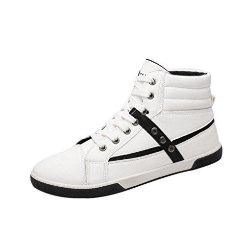 ABSOAR Herren Sneakers Unisex Schuhe Hohe Schuhe Freizeitschuhe Herrenschuhe Turnschuhe Sneaker High Top Schuhe Britischen Stil Board Schuhe (43, Weiß) -
