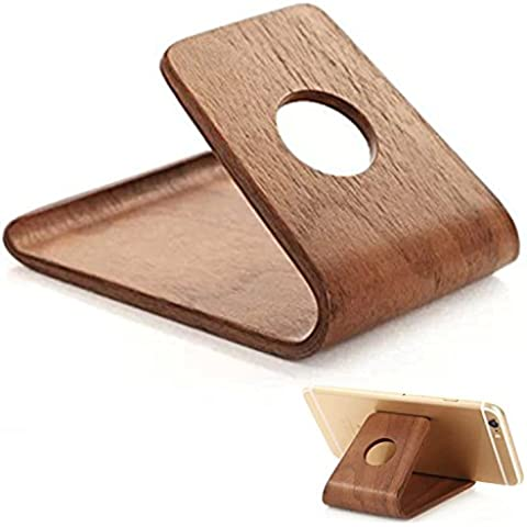 NIUTOP Premium iPhone Legno Supporto, Smasung Galaxy Wood Holder, Walnut Birch Wood Wooden Bamboo Cell Phone Smartphone Holder Stand, Smart Decoration, Best Holder per iPhone 6, iPhone 6 Plus, iPhone 5 5S 4S, Samsung Galaxy S6 S6 Edge S5 S4 S3, Google Nexus, Nokia Lumia, HTC, Xiaomi, Huawei, OnePlus, BLU Phones - Frees Up Your Hands To Watch Movies Or View Photos (Walnut)