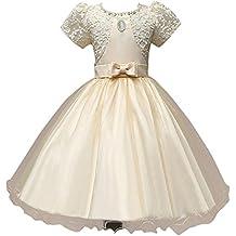 Moollyfox Niña Vestido con Perla Flor para Partido Boda Manga Corta Capas de Tul Vestido de Princesa Amarillo 100CM