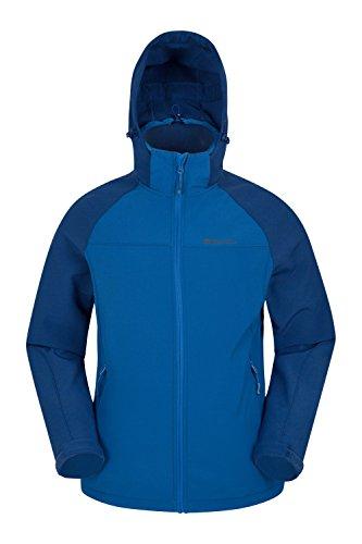 Mountain Warehouse Exodus Herren wasserabweisende Softshelljacke mantel outdoor Kapuzenjacke mantel warm bequem leicht Two Tone Blue Large
