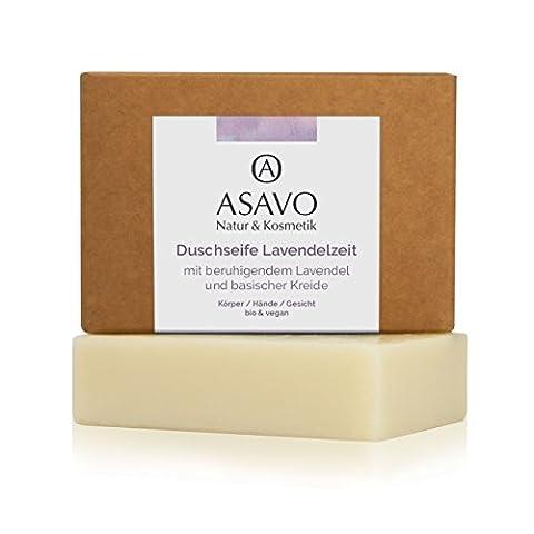 ASAVO Premium Lavendelseife, handgeschöpfte Naturseife, mit feinster Bio-Karitébutter und nativem Bio-Kokosöl, mit echtem ätherischen Lavendelöl, vegan, ohne Palmöl, 1