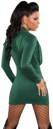 Enzoria & pull en tricot pour femme avec large col roulé taille unique (convient du 34 au 40) Vert - Vert