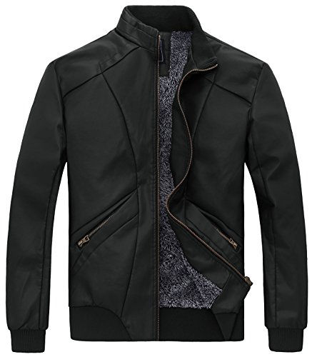 ZSHOW Herren Faux Lederjacke Stehkragen Jacke mit Fleecefutter Schwarz Medium