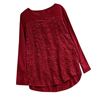 Lazzboy Women Floral Lace Embroidery Solid V-Neck Linen Long Sleeve Loose Baggy Tops T Shirt Blouse(S,Red)