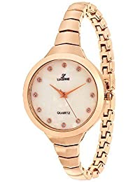 LUCERNE Analogue White Designer Dial Rose Gold Metal Strap Casual Gift Watches For Women A Modern Ladies Watch...