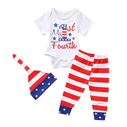 OVINEE 3 STÜCKE Neugeborenen Kleinkind Babyspielanzug Infant Girls Print Overall Kleidung Outfit Anzug Hose Hut Stirnband 4. Juli