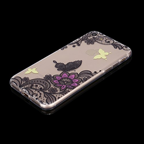Coque iPhone 7, iPhone 7 Coque Silicone Transparent, SainCat Ultra Slim Transparent TPU Silicone Case Cover pour iPhone 7, Coque Bling Gliter Strass Brillante Anti-Scratch Crystal Clear Soft Gel Cover Papillon Dentelle #