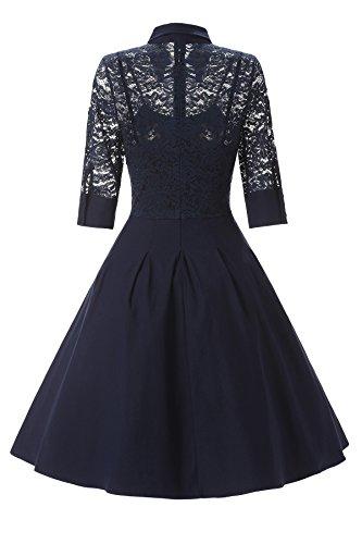 Gigileer Elegant Women's Lace Contrast Straight Skirt Big Swing A Line Dress 1950's Cocktail Navy L