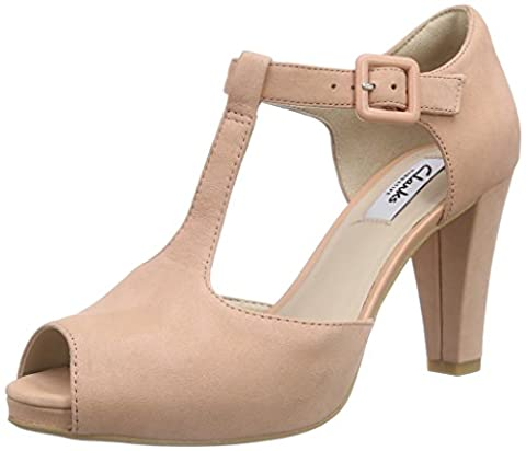 Clarks Kendra Flower, Women's Open-Toe Pumps, Pink (peach Nubuck), 5.5 UK (39 EU)