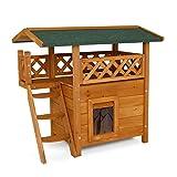 Dibea ch10810, Gatto Casa Lodge (Legno, 77x 50x 73cm) con terrazza e Scale