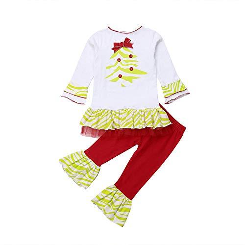 (Huihong Kleinkind Mädchen Kleidung Set Weihnachtsbäume Drucken T Shirt Tops + Spitze Rüschen Hosen Party Outfits (Weiß, 9-12 Monate/80))