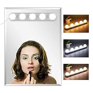 Led Spiegelleuchte, Hollywood Stil 5 LED Birne Dimmbar Schminklicht Spiegellampe Make-up Lampe, Beleuchtung Spiegel Lichter für Kosmetikspiegel Badzimmer, Farbtemperatur einstellbar
