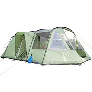Skandika Nordland Family Tunnel Tent with Sewn-In Groundsheet, 200 cm Peak Height, 5000 mm Water Column, Green/Grey, 4-Person