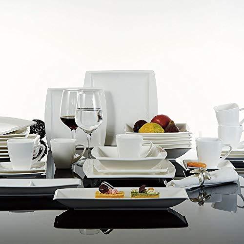 Malacasa, serie Blance, 32 piezas Juegos de vajilla de porcelana blanca crema 6 tazas de café, 6 platillos, 6 platos de postre, 6 platos de sopa, 6 platos planos, 1 compartimento de alimentos, 1 plato rectangular para 6 persona