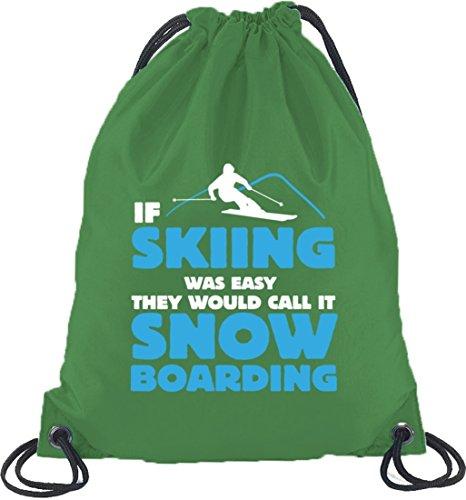 If Skiing Was Easy, Wintersport Snowboard Après Ski Turnbeutel Rucksack Sport Beutel Kelly Green