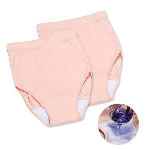 Frauen-Harninkontinenz Unterwäsche - Saugfähigkeit Waschbar Wiederverwendbare Panties Cotton Soft Comfort Breath Knicker (2 Stück),L