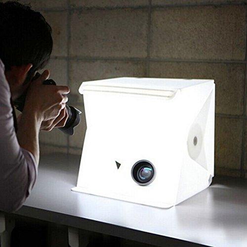 Galleria fotografica Portatile Studio fotografico tenda, iFergo Lightbox Mini illuminazione Piccole Shooting Box con Luce LED Pieghevole Kit Tenda Luce Studio con 2 Panni Sfondi Bianco e Nero
