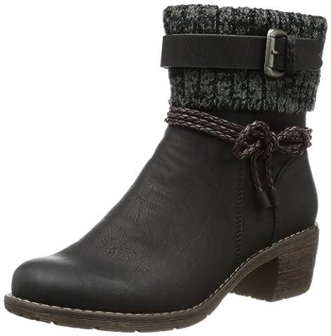 Rieker 99878, Damen Halbschaft Stiefel, Schwarz (schwarz/testadimoro/black-grey/00), 40 EU (6.5 Damen UK)