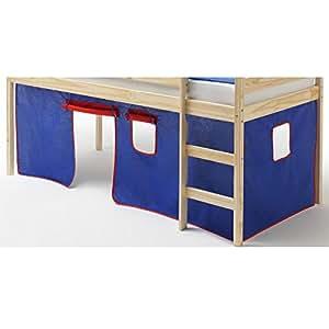 rideaux max pour lit superpos ou lit sur lev coton bleu et rouge cuisine maison. Black Bedroom Furniture Sets. Home Design Ideas