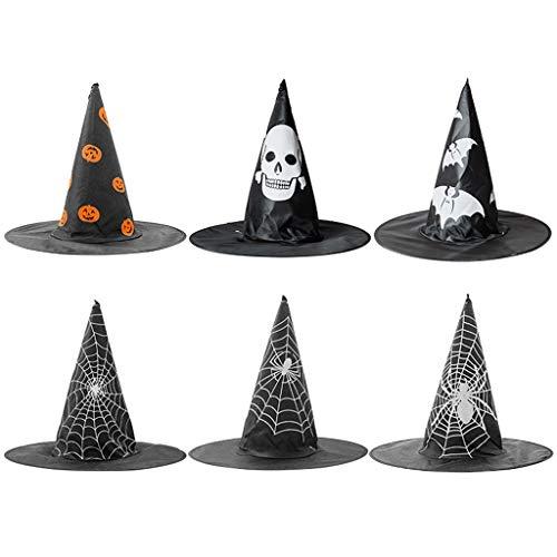 Moreoustitory Erwachsene Kinder Kunstseide Hexen Hut Verrücktes Kleid  Halloween Cosplay Kostümparty Dekoration -